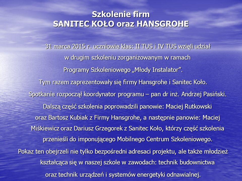 Szkolenie firm SANITEC KOŁO oraz HANSGROHE