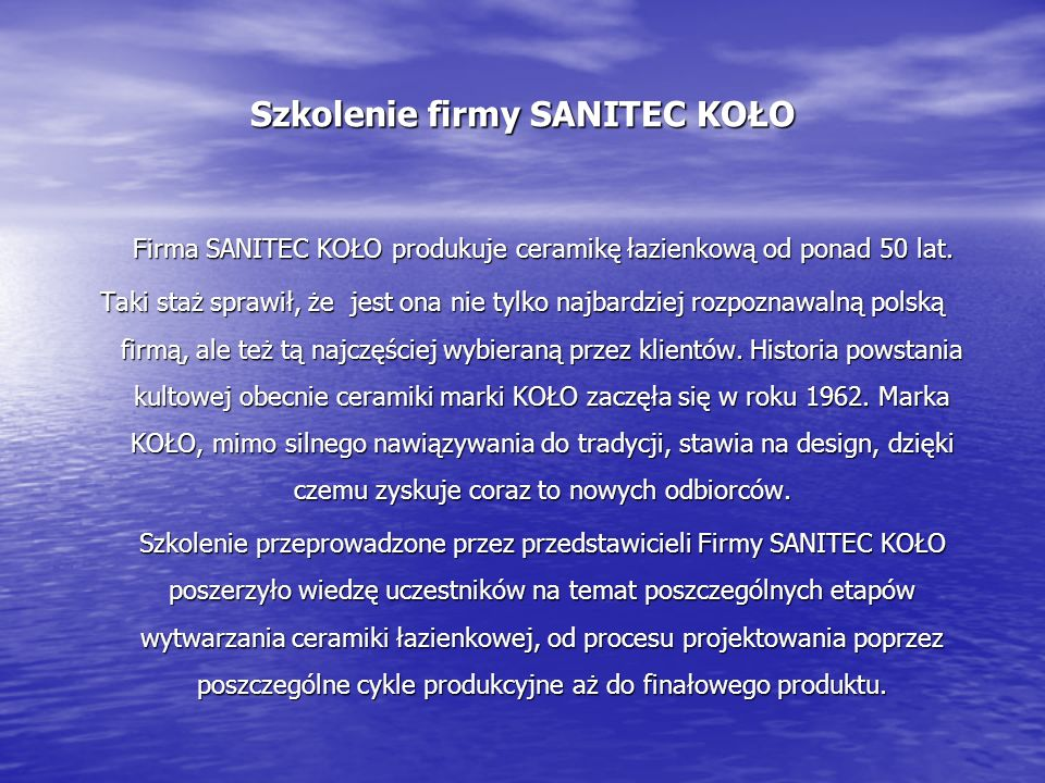 Szkolenie firmy SANITEC KOŁO