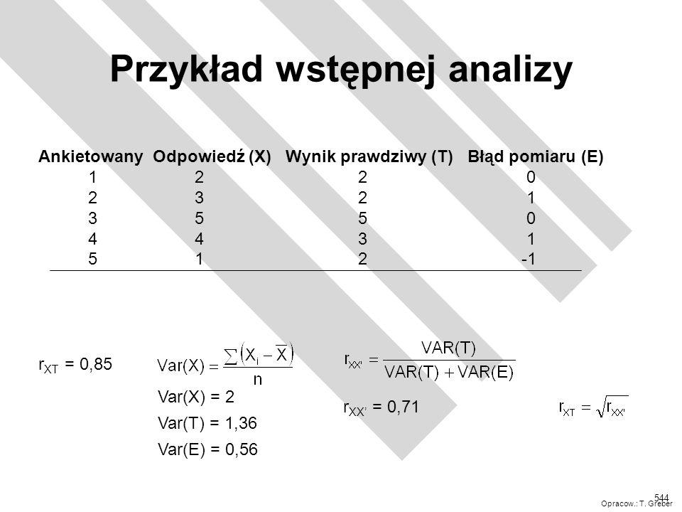 Przykład wstępnej analizy