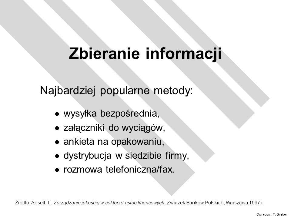 Zbieranie informacji Najbardziej popularne metody: