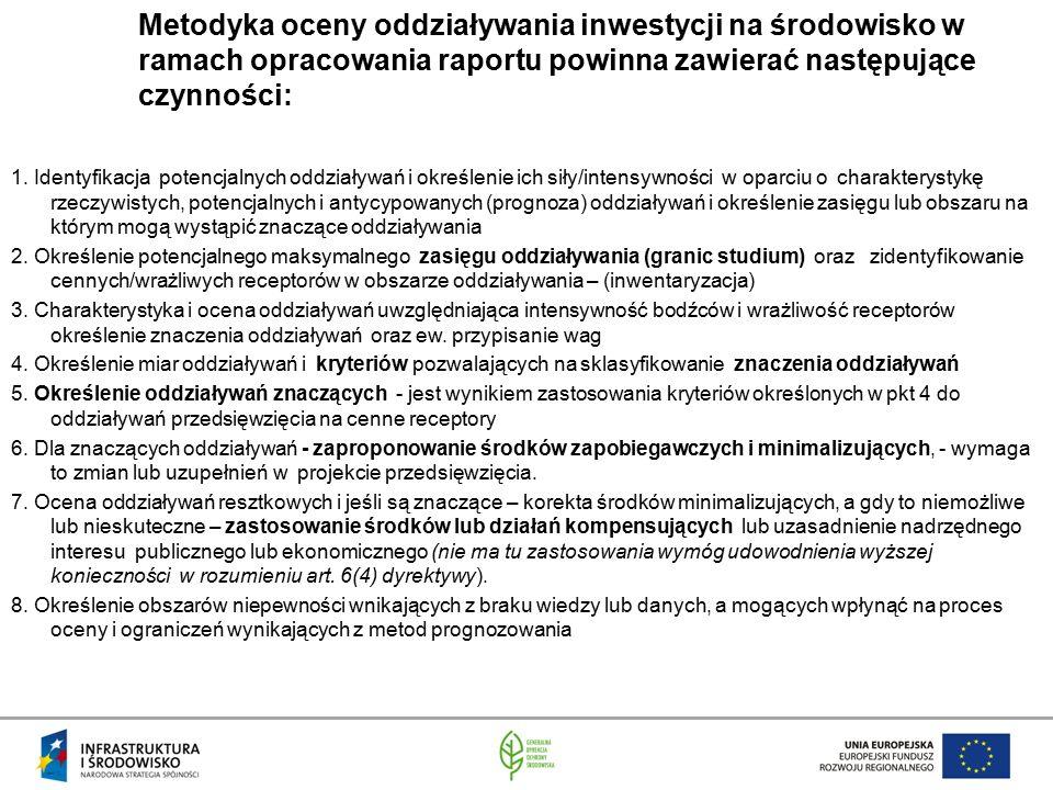Metodyka oceny oddziaływania inwestycji na środowisko w ramach opracowania raportu powinna zawierać następujące czynności: