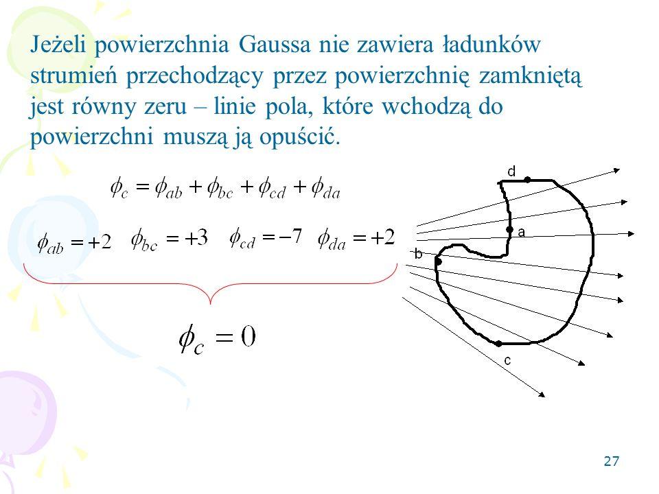 Jeżeli powierzchnia Gaussa nie zawiera ładunków strumień przechodzący przez powierzchnię zamkniętą jest równy zeru – linie pola, które wchodzą do powierzchni muszą ją opuścić.