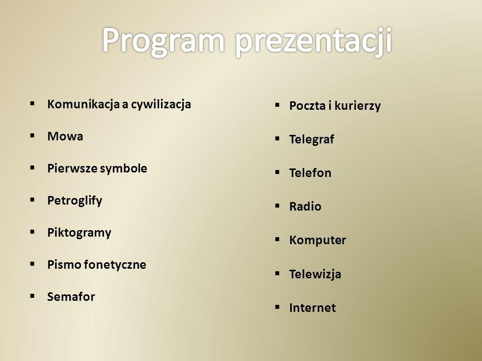 Program prezentacji Komunikacja a cywilizacja Mowa Pierwsze symbole