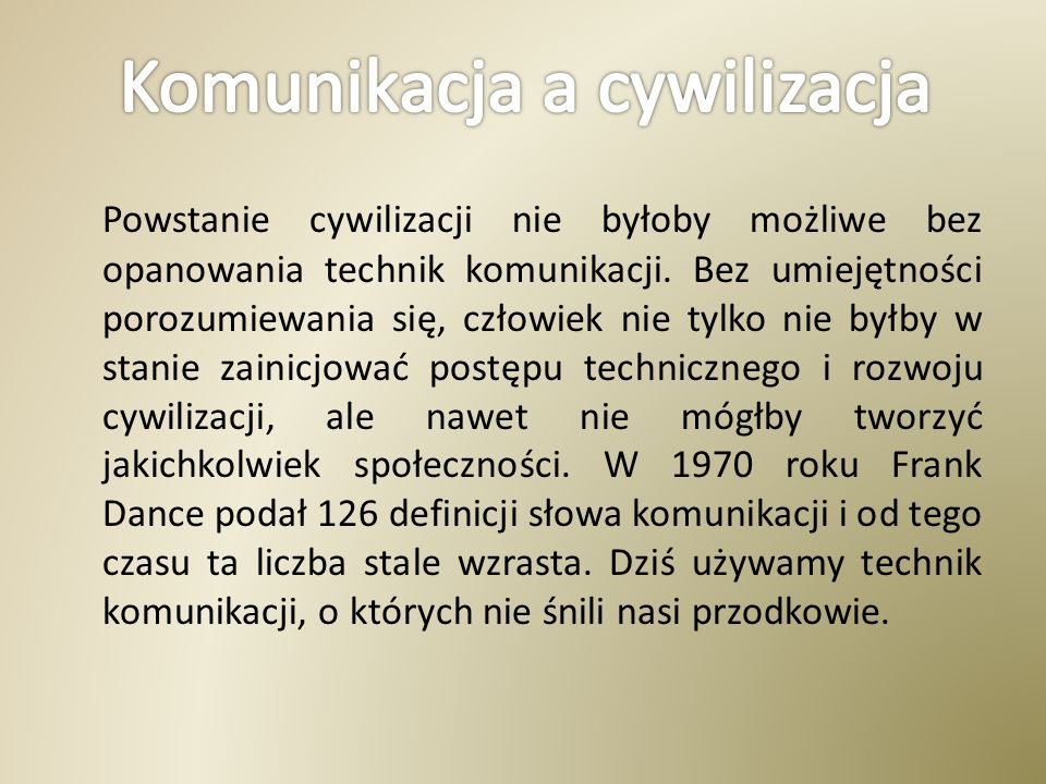 Komunikacja a cywilizacja