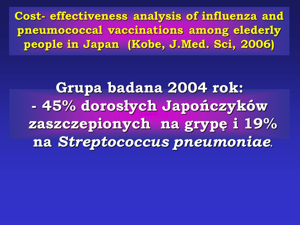 Cost- effectiveness analysis of influenza and pneumococcal vaccinations among elederly people in Japan (Kobe, J.Med. Sci, 2006)