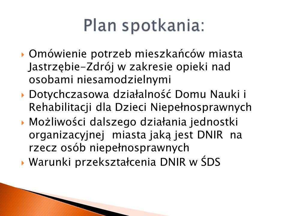 Plan spotkania: Omówienie potrzeb mieszkańców miasta Jastrzębie-Zdrój w zakresie opieki nad osobami niesamodzielnymi.