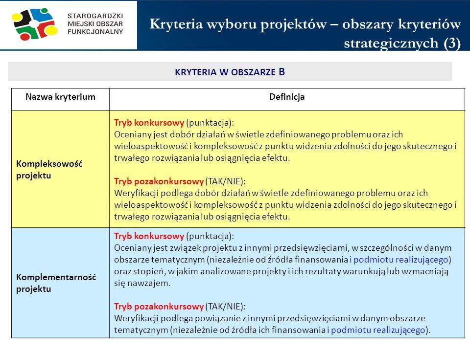 Kryteria wyboru projektów – obszary kryteriów strategicznych (3)