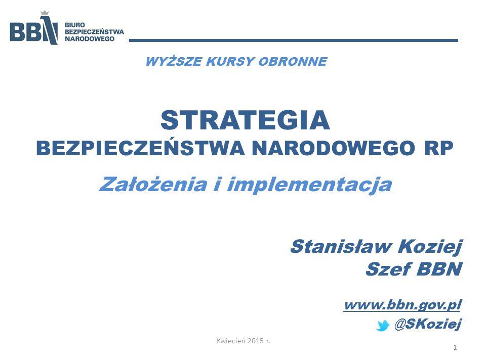 STRATEGIA BEZPIECZEŃSTWA NARODOWEGO RP Założenia i implementacja