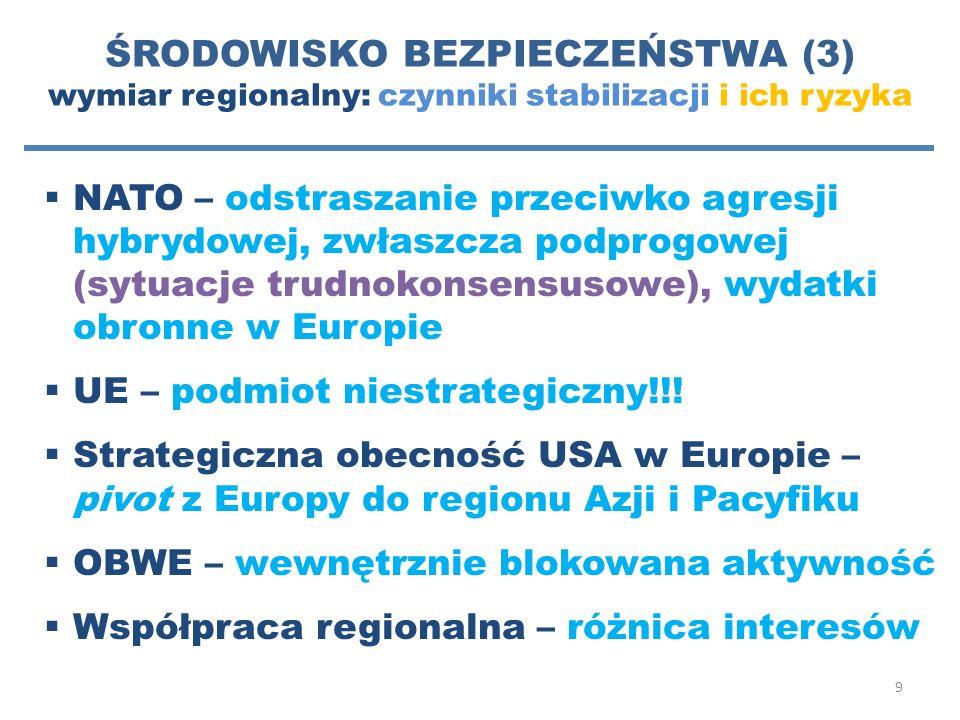 ŚRODOWISKO BEZPIECZEŃSTWA (3) wymiar regionalny: czynniki stabilizacji i ich ryzyka
