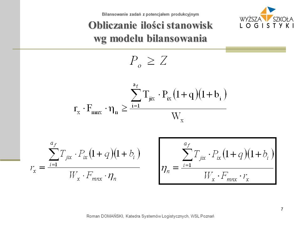 Obliczanie ilości stanowisk wg modelu bilansowania