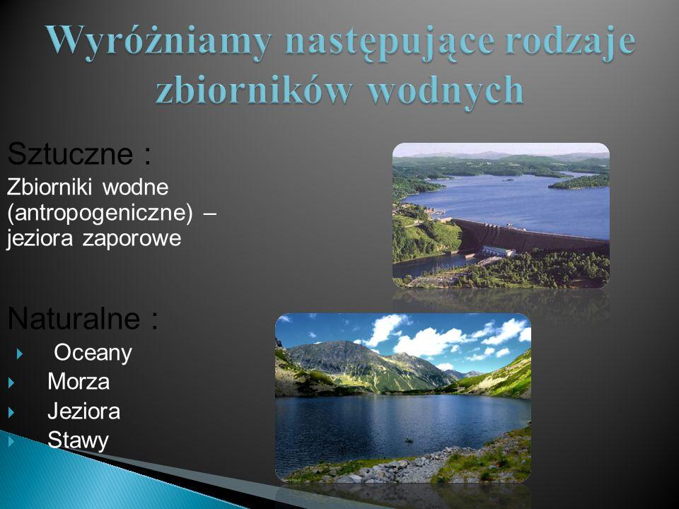 Wyróżniamy następujące rodzaje zbiorników wodnych