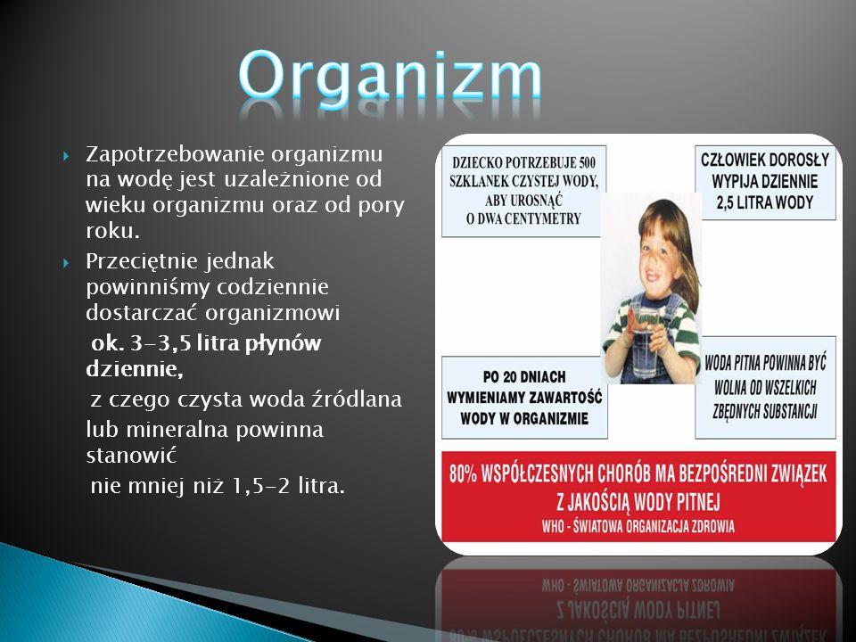 Organizm Zapotrzebowanie organizmu na wodę jest uzależnione od wieku organizmu oraz od pory roku.
