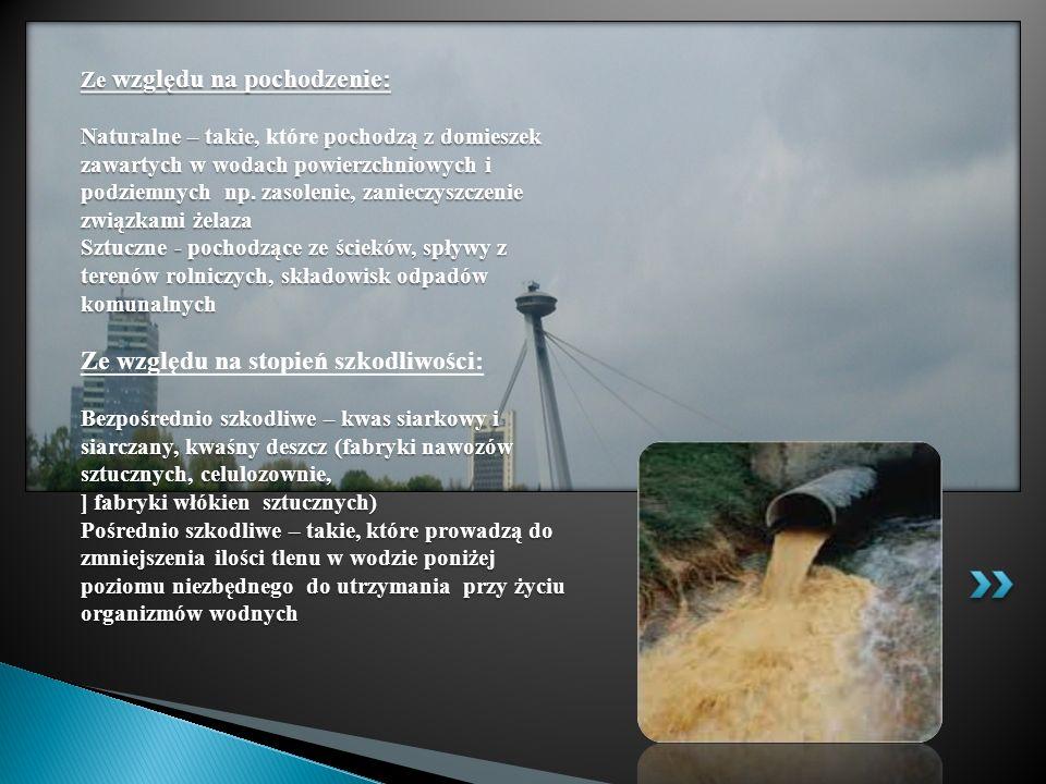 Ze względu na pochodzenie: Naturalne – takie, które pochodzą z domieszek zawartych w wodach powierzchniowych i podziemnych np.