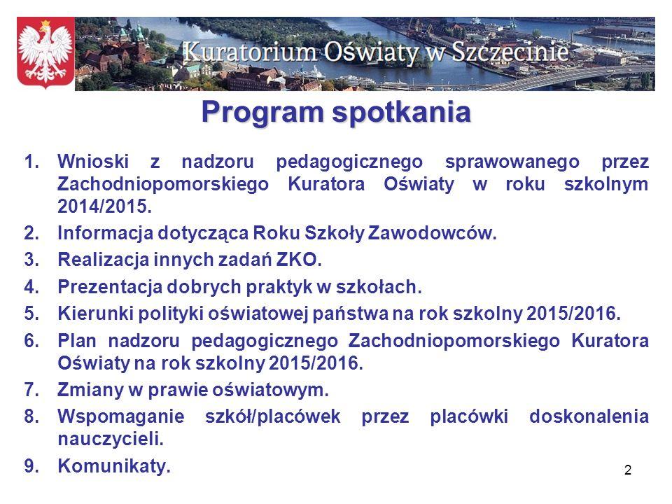 Program spotkania Wnioski z nadzoru pedagogicznego sprawowanego przez Zachodniopomorskiego Kuratora Oświaty w roku szkolnym 2014/2015.