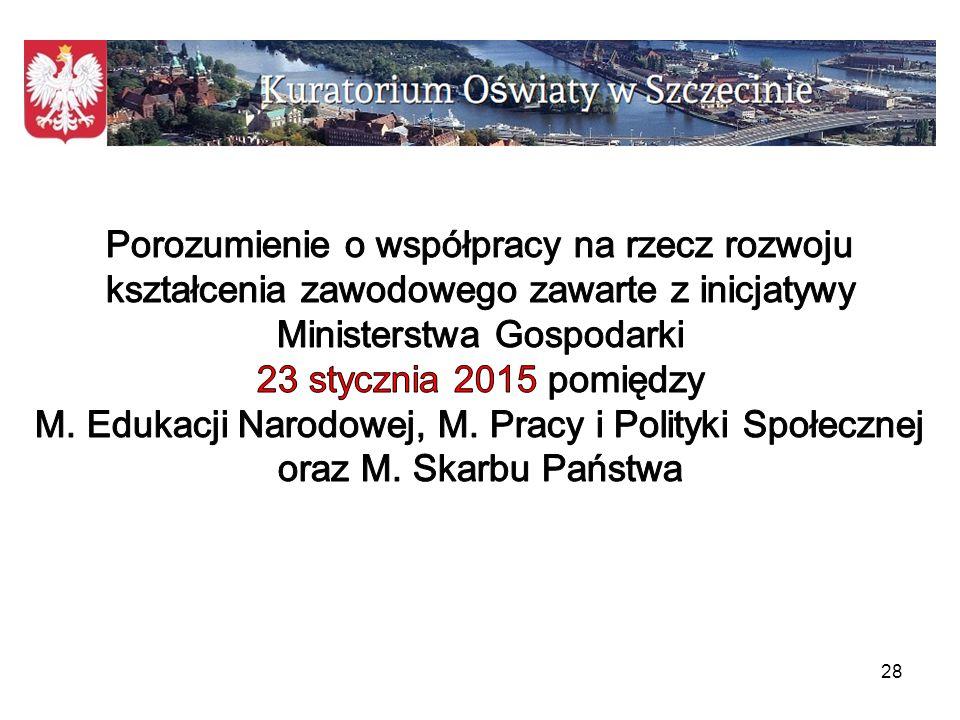 Porozumienie o współpracy na rzecz rozwoju kształcenia zawodowego zawarte z inicjatywy Ministerstwa Gospodarki 23 stycznia 2015 pomiędzy M.