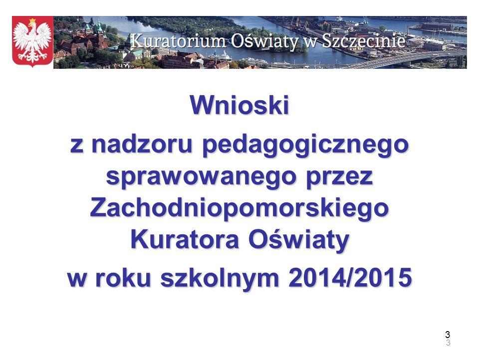Wnioski z nadzoru pedagogicznego sprawowanego przez Zachodniopomorskiego Kuratora Oświaty.