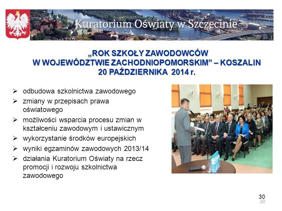 """""""ROK SZKOŁY ZAWODOWCÓW W WOJEWÓDZTWIE ZACHODNIOPOMORSKIM – KOSZALIN 20 PAŹDZIERNIKA 2014 r."""