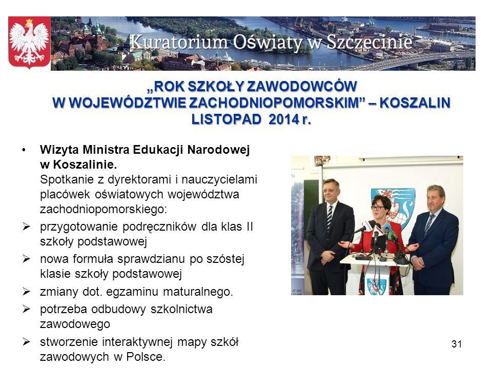 """""""ROK SZKOŁY ZAWODOWCÓW W WOJEWÓDZTWIE ZACHODNIOPOMORSKIM – KOSZALIN LISTOPAD 2014 r."""