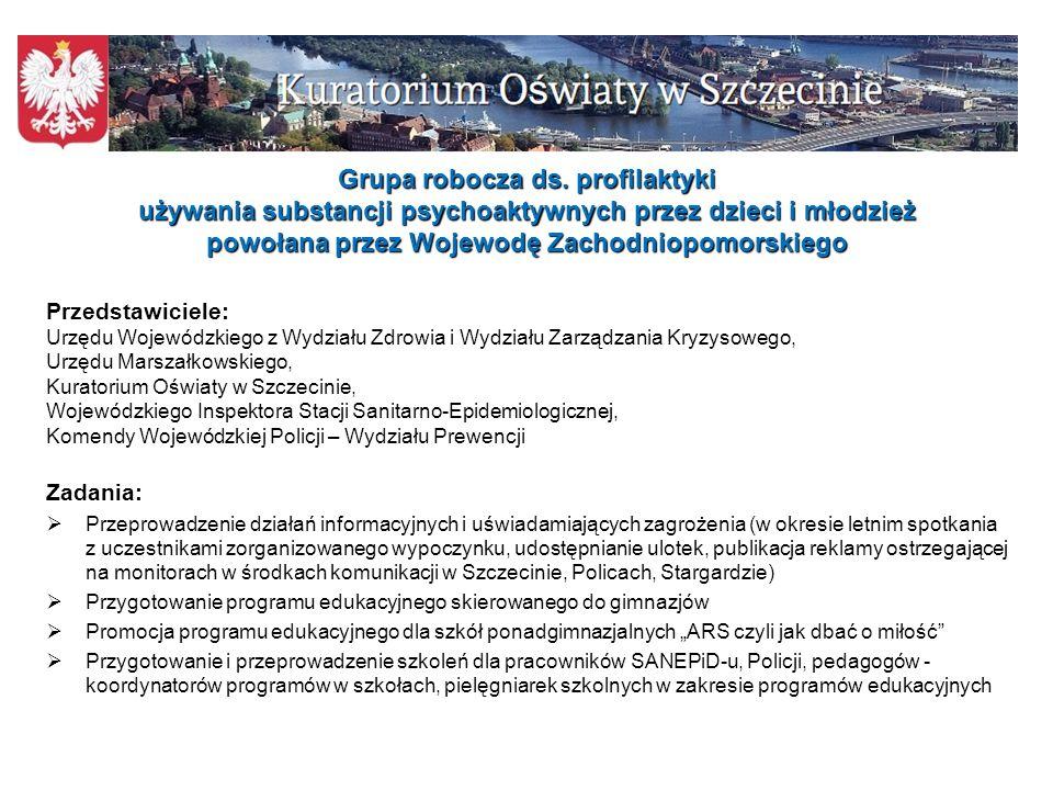 Grupa robocza ds. profilaktyki używania substancji psychoaktywnych przez dzieci i młodzież powołana przez Wojewodę Zachodniopomorskiego