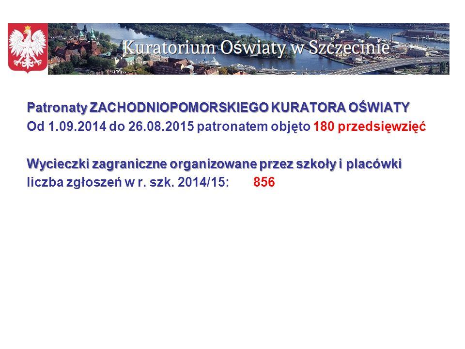 Patronaty ZACHODNIOPOMORSKIEGO KURATORA OŚWIATY Od 1. 09. 2014 do 26