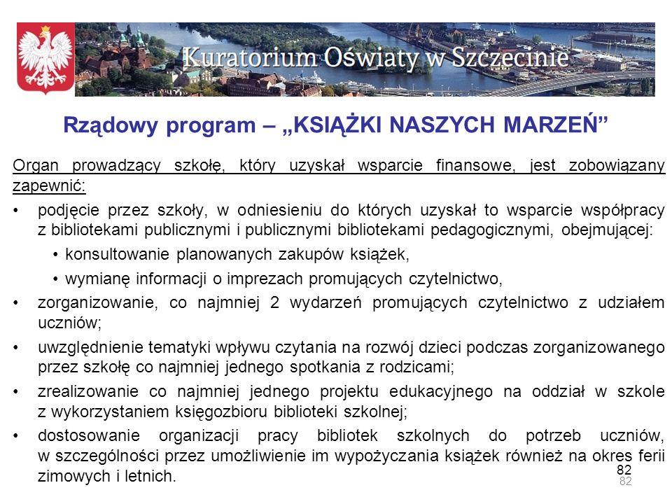 """Rządowy program – """"KSIĄŻKI NASZYCH MARZEŃ"""