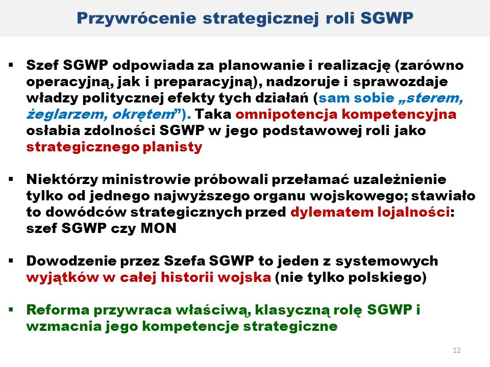 Przywrócenie strategicznej roli SGWP