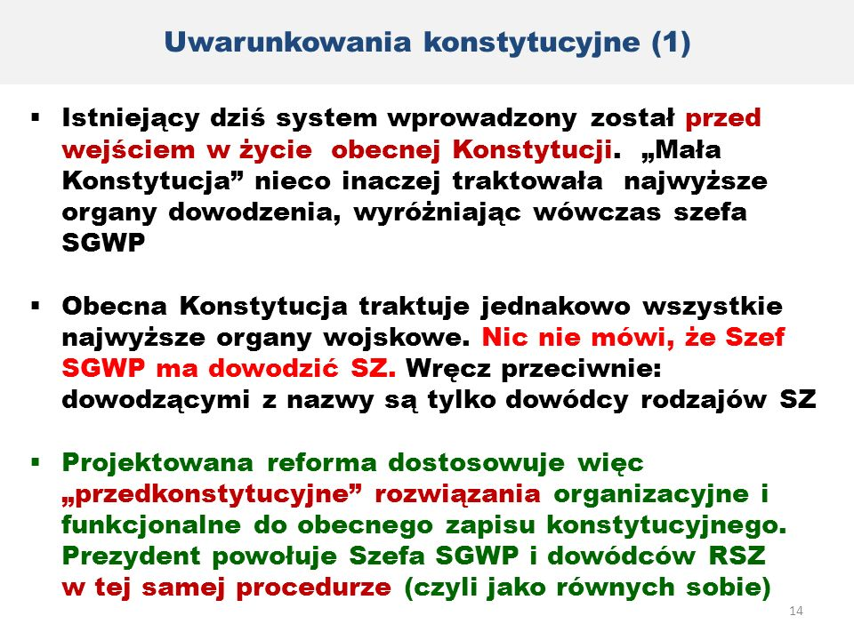 Uwarunkowania konstytucyjne (1)