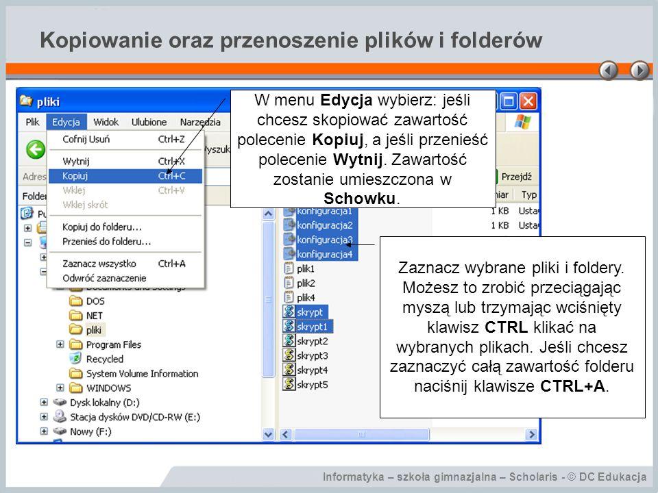 Kopiowanie oraz przenoszenie plików i folderów