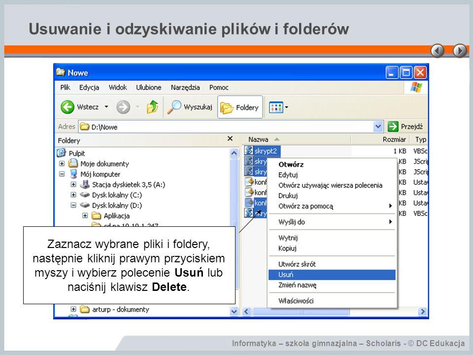 Usuwanie i odzyskiwanie plików i folderów