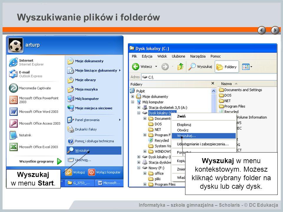 Wyszukiwanie plików i folderów