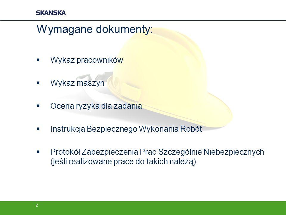 Wymagane dokumenty: Wykaz pracowników Wykaz maszyn