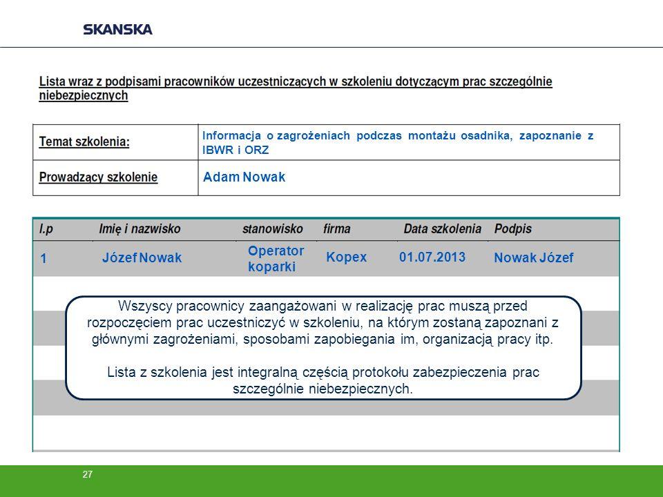 Informacja o zagrożeniach podczas montażu osadnika, zapoznanie z IBWR i ORZ