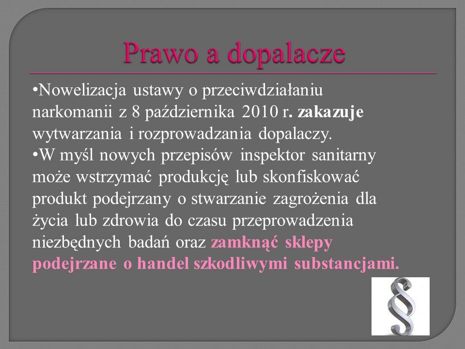 Prawo a dopalacze Nowelizacja ustawy o przeciwdziałaniu narkomanii z 8 października 2010 r. zakazuje wytwarzania i rozprowadzania dopalaczy.