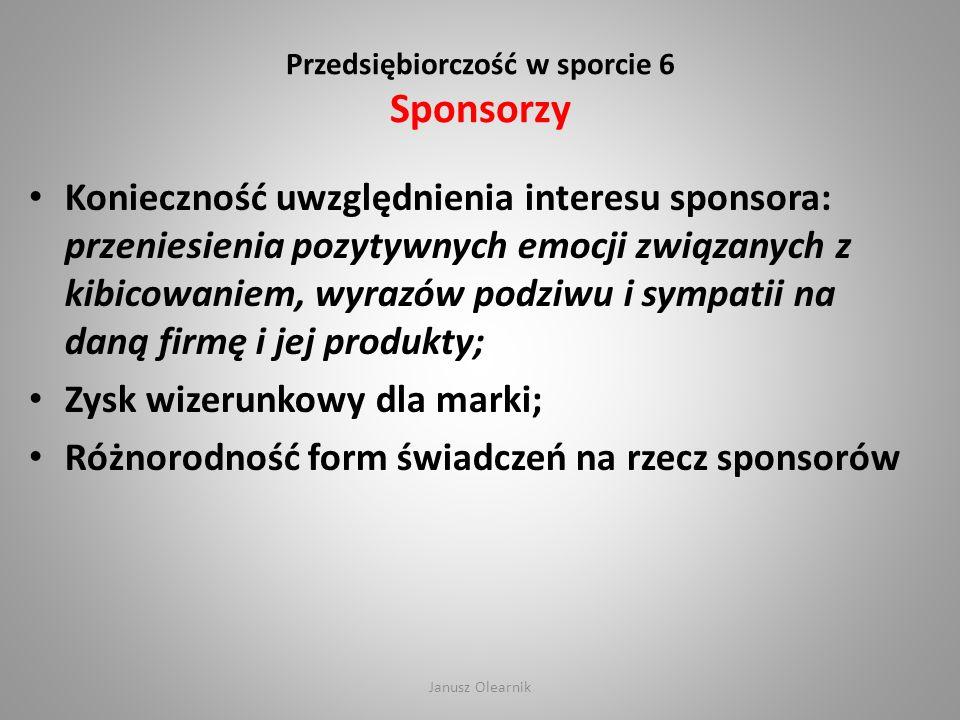 Przedsiębiorczość w sporcie 6 Sponsorzy