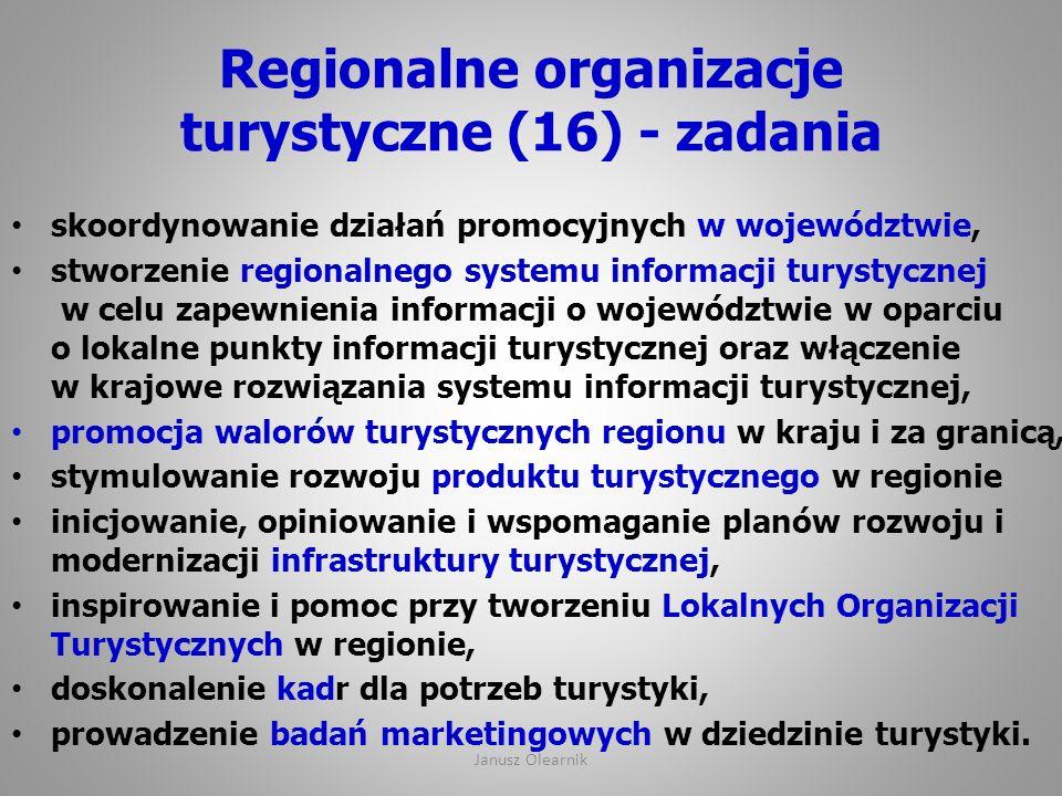 Regionalne organizacje turystyczne (16) - zadania