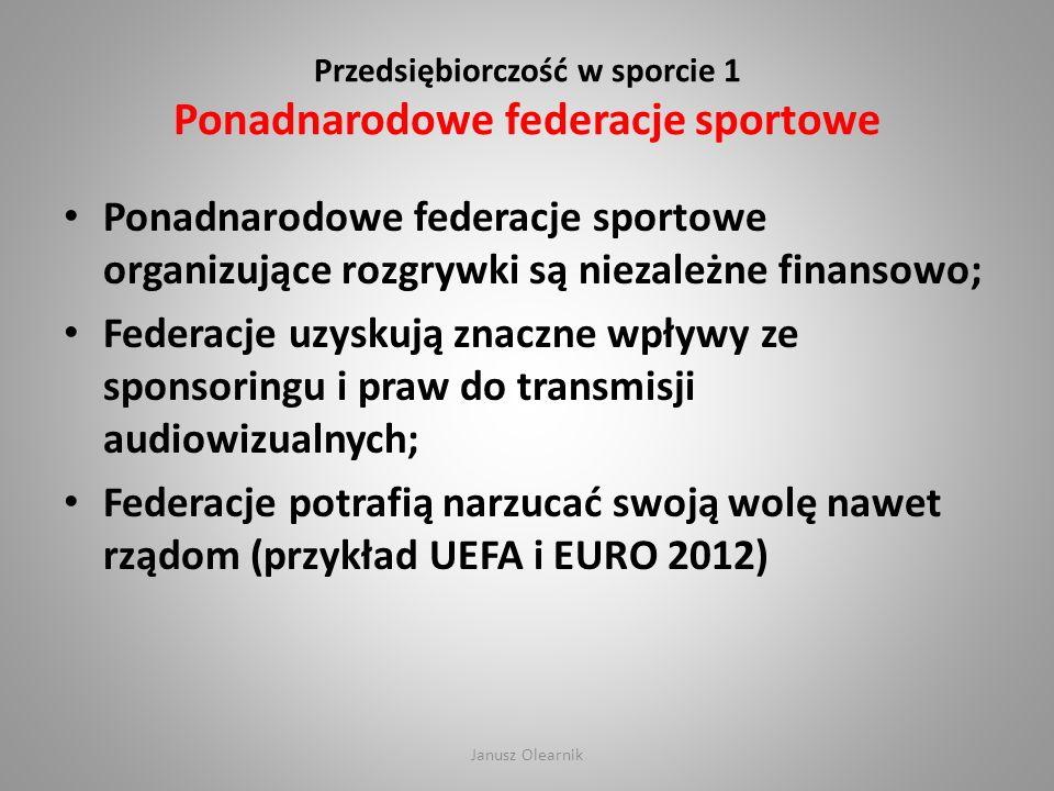 Przedsiębiorczość w sporcie 1 Ponadnarodowe federacje sportowe
