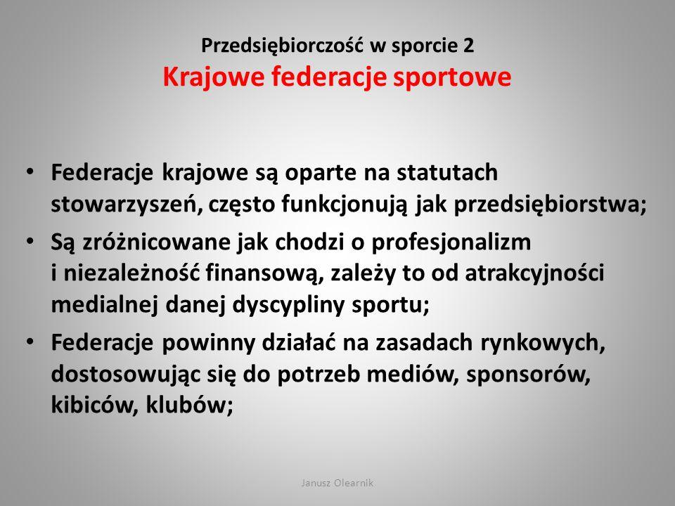 Przedsiębiorczość w sporcie 2 Krajowe federacje sportowe