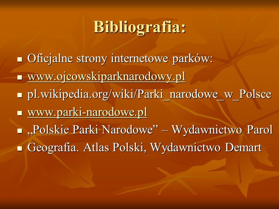 Bibliografia: Oficjalne strony internetowe parków: