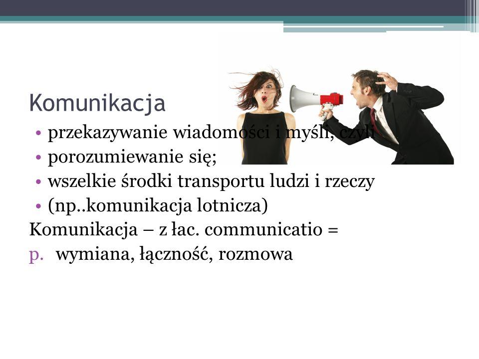Komunikacja przekazywanie wiadomości i myśli, czyli