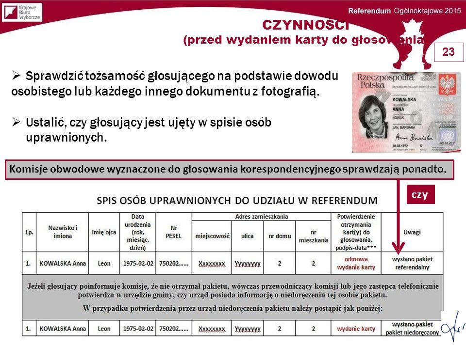 CZYNNOŚCI (przed wydaniem karty do głosowania)
