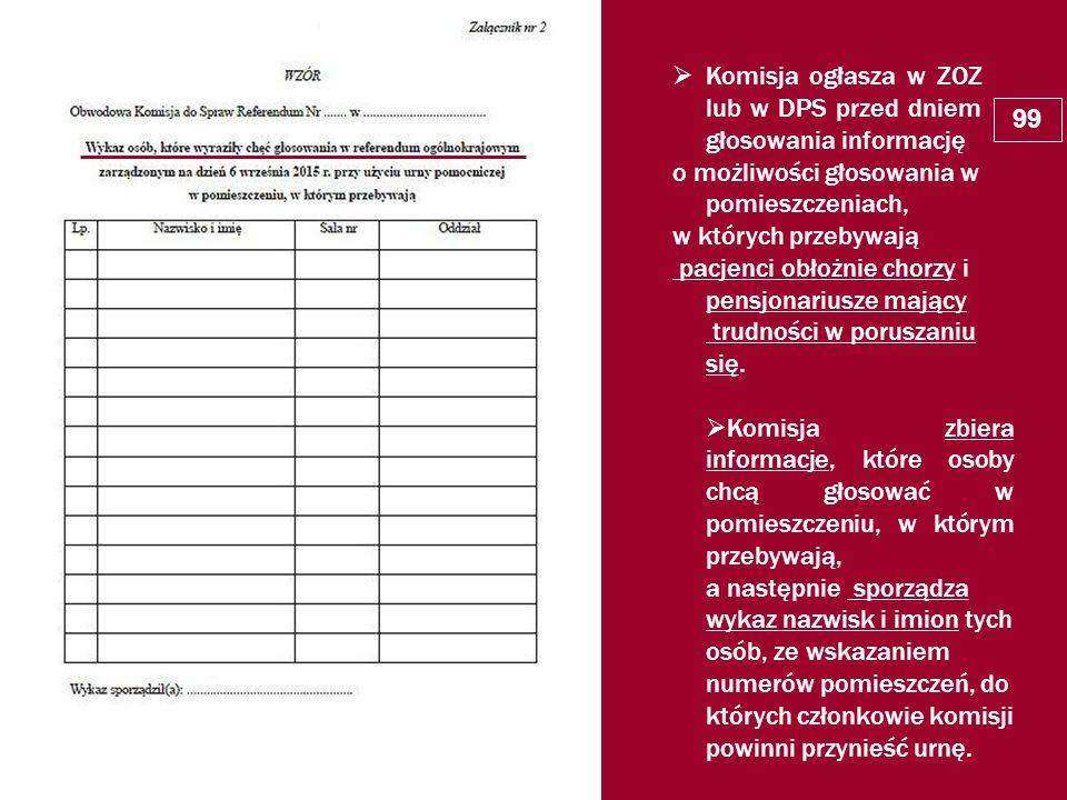 Komisja ogłasza w ZOZ lub w DPS przed dniem głosowania informację