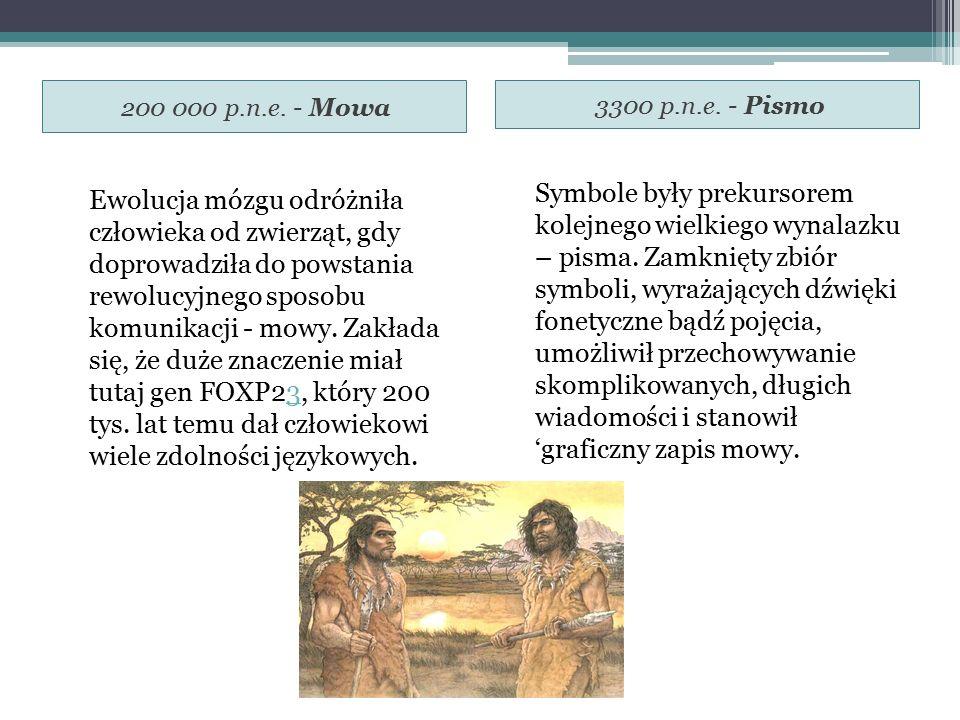 200 000 p.n.e. - Mowa 3300 p.n.e. - Pismo.