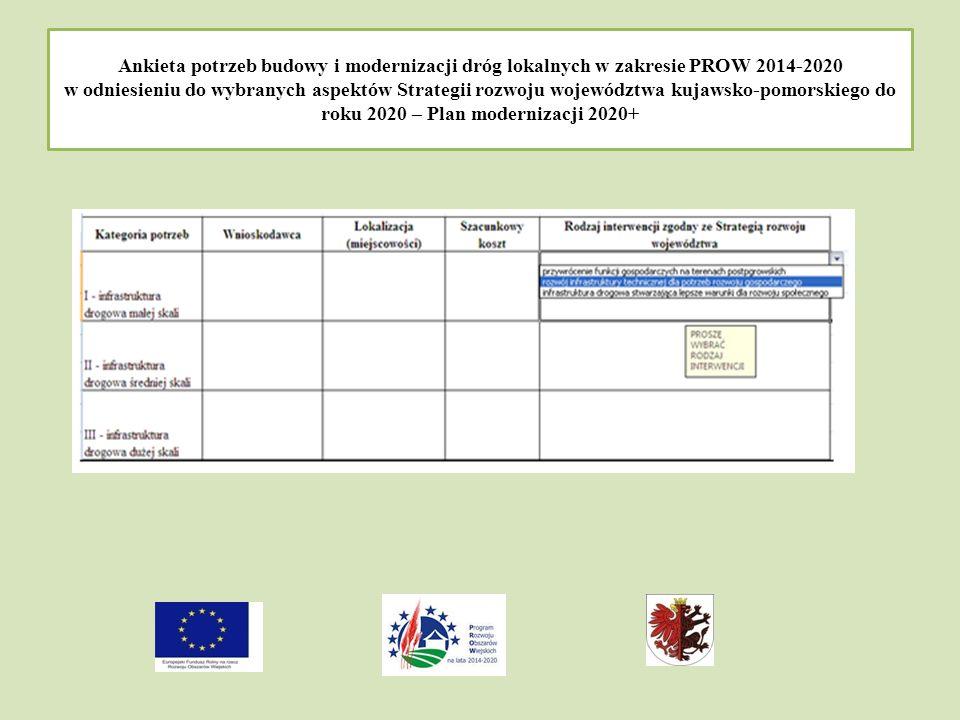 Ankieta potrzeb budowy i modernizacji dróg lokalnych w zakresie PROW 2014-2020 w odniesieniu do wybranych aspektów Strategii rozwoju województwa kujawsko-pomorskiego do roku 2020 – Plan modernizacji 2020+