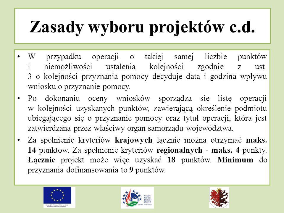 Zasady wyboru projektów c.d.