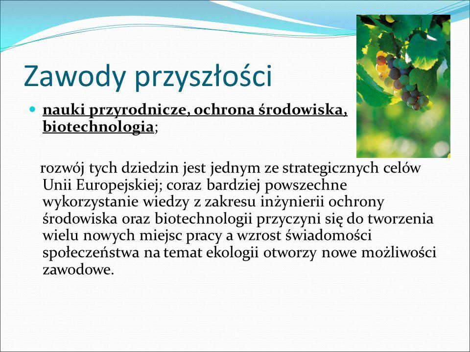 Zawody przyszłości nauki przyrodnicze, ochrona środowiska, biotechnologia;