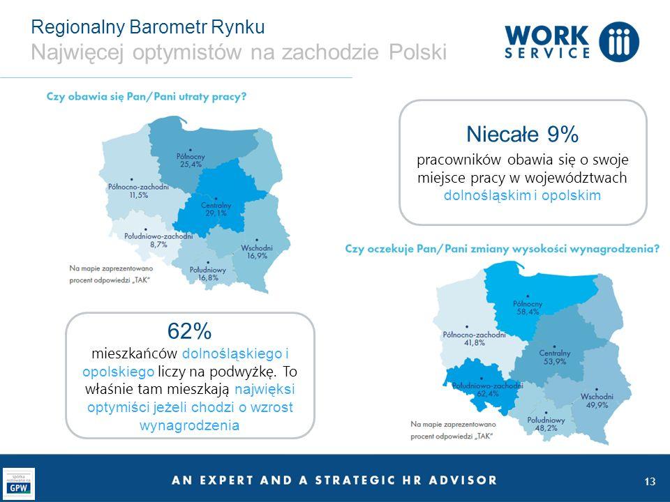Regionalny Barometr Rynku Najwięcej optymistów na zachodzie Polski