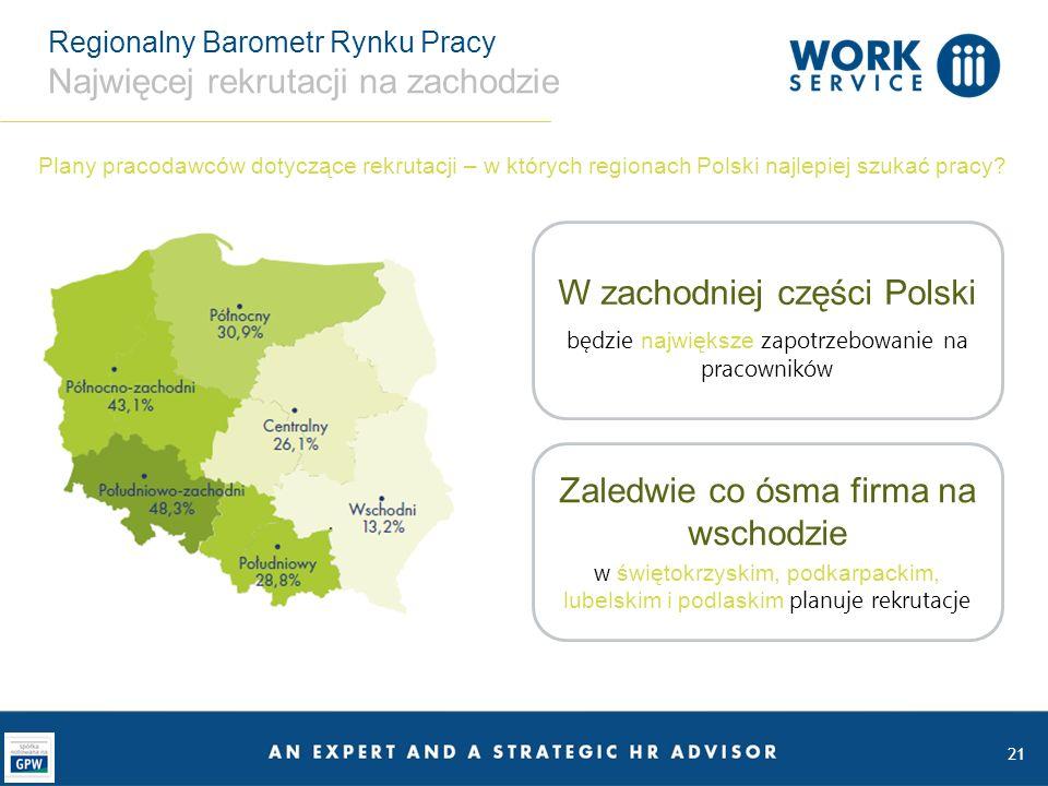 Regionalny Barometr Rynku Pracy Najwięcej rekrutacji na zachodzie