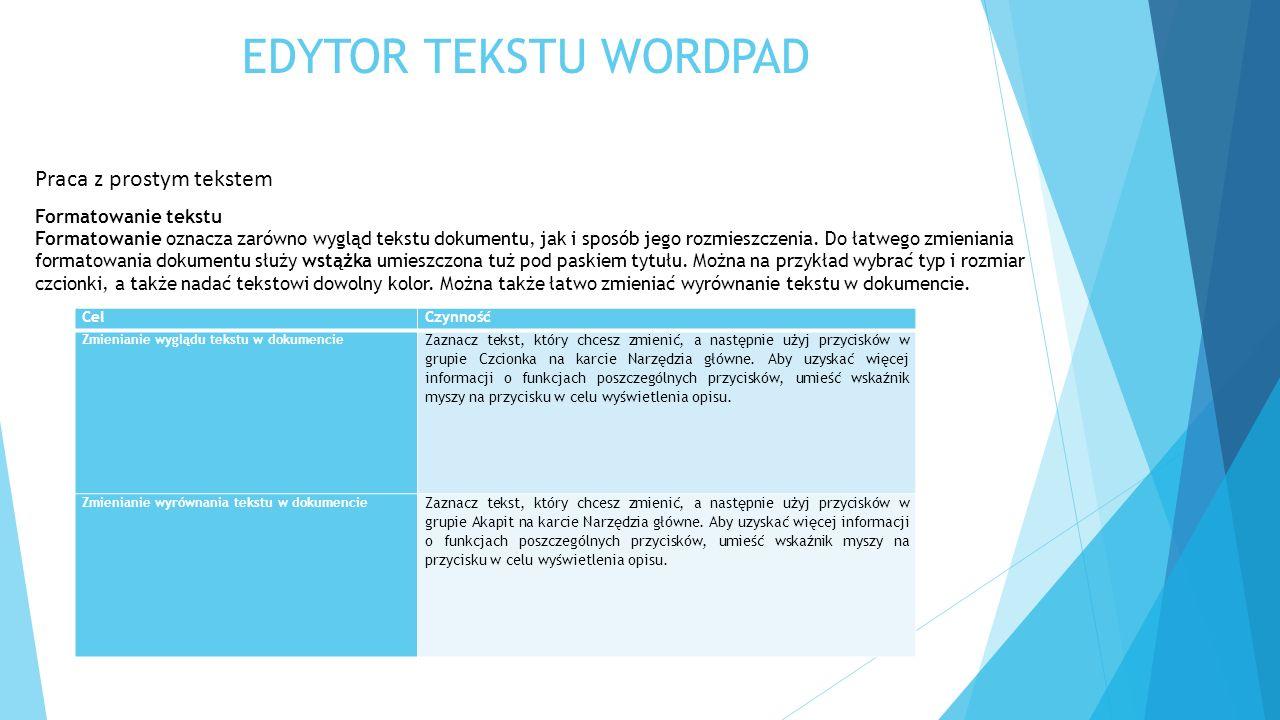 EDYTOR TEKSTU WORDPAD Praca z prostym tekstem Formatowanie tekstu