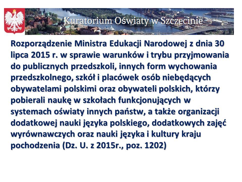 Rozporządzenie Ministra Edukacji Narodowej z dnia 30 lipca 2015 r