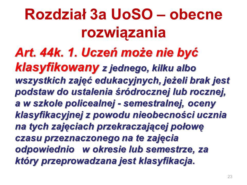 Rozdział 3a UoSO – obecne rozwiązania